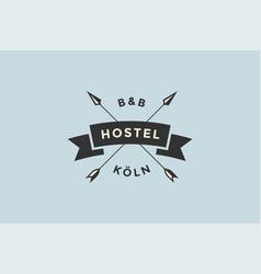 Emblem hostel with arrows vector