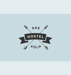 Emblem of hostel with arrows vector