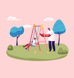 father swinging child on swing in park or vector image