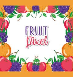 fruit pixel cartoons vector image