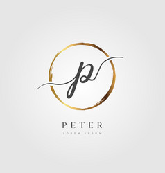 gold elegant initial letter type p vector image