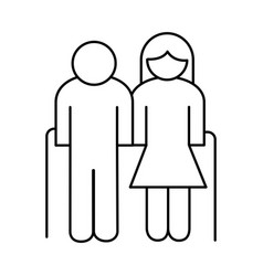 Grandparents couple avatars line style icon vector