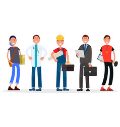 Group of people various vocations five persons vector