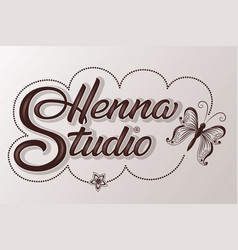 Hand drawn decorated lettering henna studio with vector