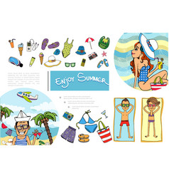 hand drawn summer vacation composition vector image
