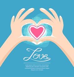 Hand love heart sign vector