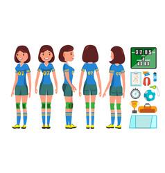 Handball girl player female match vector