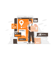 handsome man delivery boxes to point using vector image