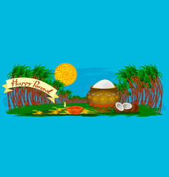 Happy pongal holiday harvest and festival blue vector