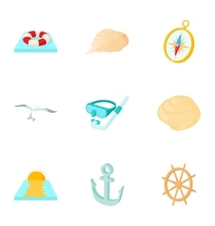 Holiday by sea icons set cartoon style vector