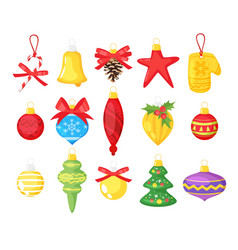 holiday christmas tree toys vector image