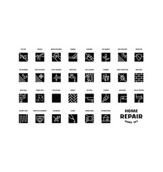 Home repair and building set of square icons vector