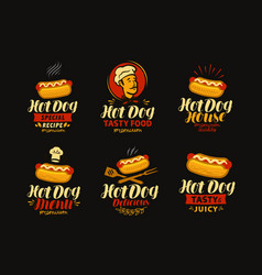 Hot dog logo or label fast food set of icons vector