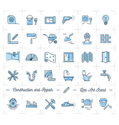 Icons repair home improvement construction and vector