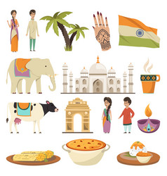 India orthogonal isolated icons set vector