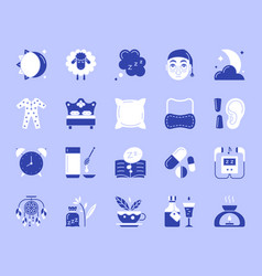 Insomnia simple color flat icons set vector