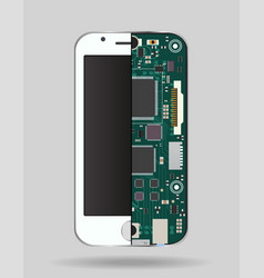 Internal phone device - circuit board a vector
