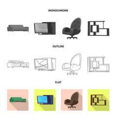isolated object of furniture and work logo set of vector image