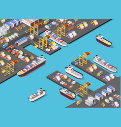 isometric port cargo ship vector image