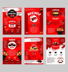 japanese restaurant and sushi bar menu poster vector image