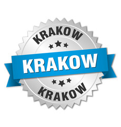Krakow round silver badge with blue ribbon vector