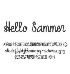 Latin alphabet hello summer font handwriting vector