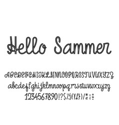 Latin alphabet hello summer font handwriting with vector
