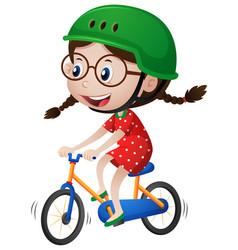Little girl riding bike with helmet on vector