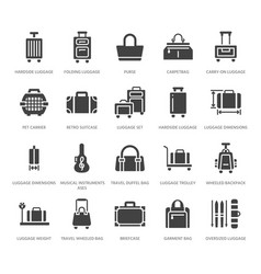 Luggage flat glyph icons carry-on hardside vector