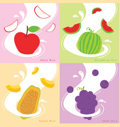 Milk flavor apple papaya watermelon grape vector