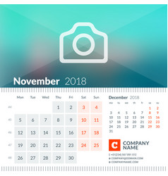 November 2018 calendar for 2018 year week starts vector