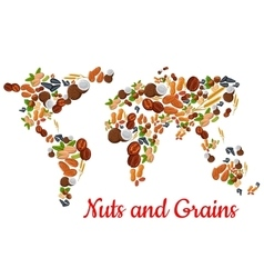 Nuts and grains in world map shape vector