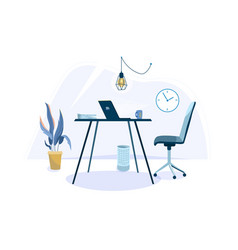 Office workplace background for one person vector