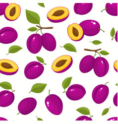 pattern with cartoon plums isolated on vector image