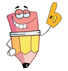 Pencil Cartoon Character Is Number One vector image