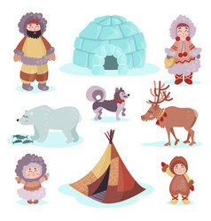 People in traditional eskimos costume and arctic vector