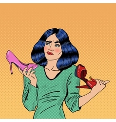 Pop Art Woman Making Choise Between Shoes vector image