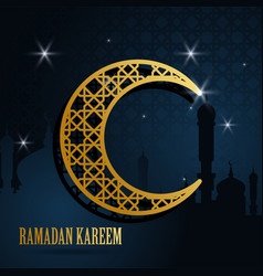 ramadan kareem greeting islamic design with moon vector image