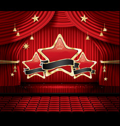 red stage curtain with three stars seats and copy vector image