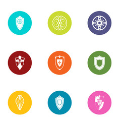 Safeguard icons set flat style vector