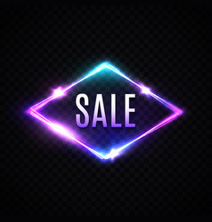 sale neon banner glowing electric rhombus border vector image