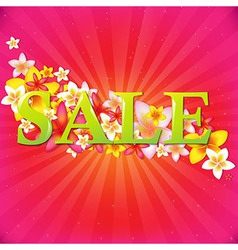 Sale Poster With Flowers And Sunburst vector image