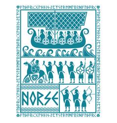 Scandinavian viking design god odin on a war vector