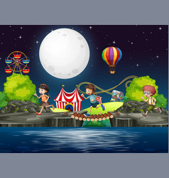 scene background design with kids in circus vector image