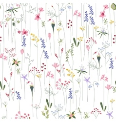 Seamless bright floral pattern with different vector image