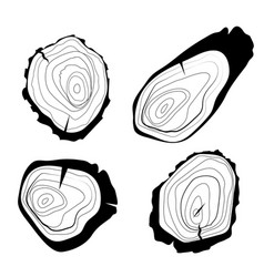 set four tree rings background and saw vector image