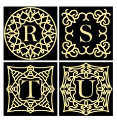 set of ornate frame monogram for cards wedding vector image
