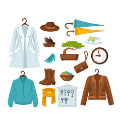 set of stylish female clothes vector image