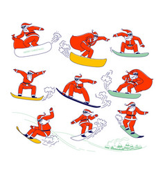 set santa claus in red festive costume perform vector image