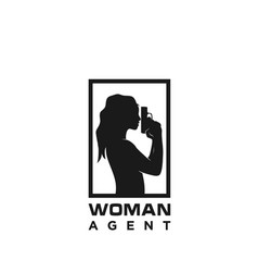 silhouette woman holding a weapon for agent spy vector image
